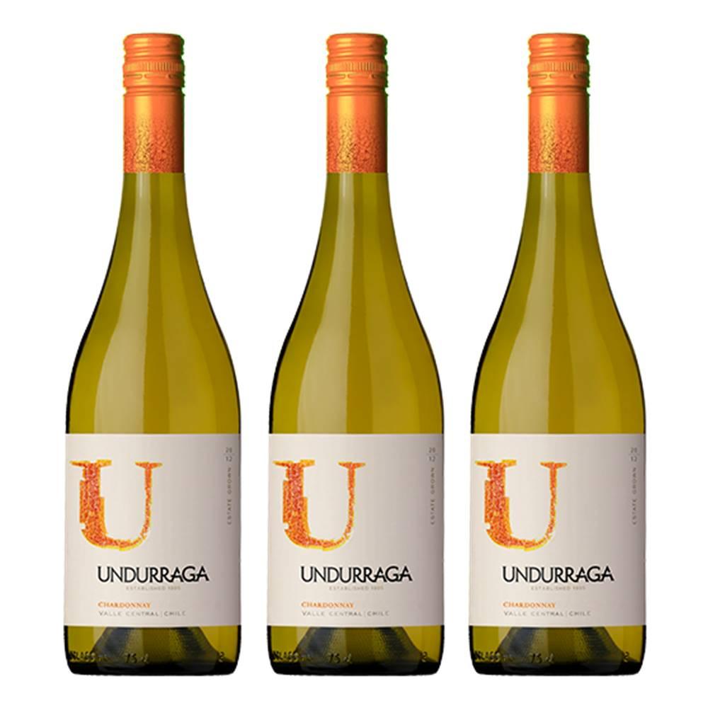 Kit 03 Unidades Vinho Undurraga U Chardonnay 750ml