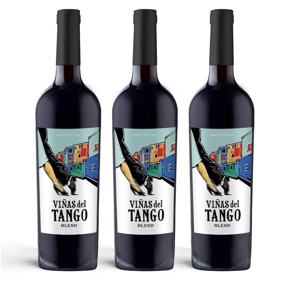 Kit 03 Unidades Vinho Vinas Del Tango Blend 750ml