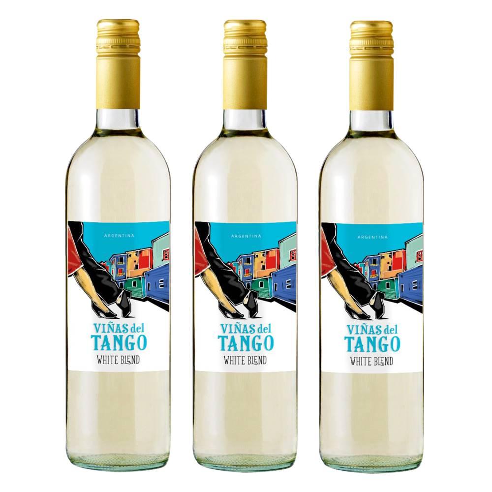 Kit 03 Unidades Vinho Vinas Del Tango Branco Blend 750ml