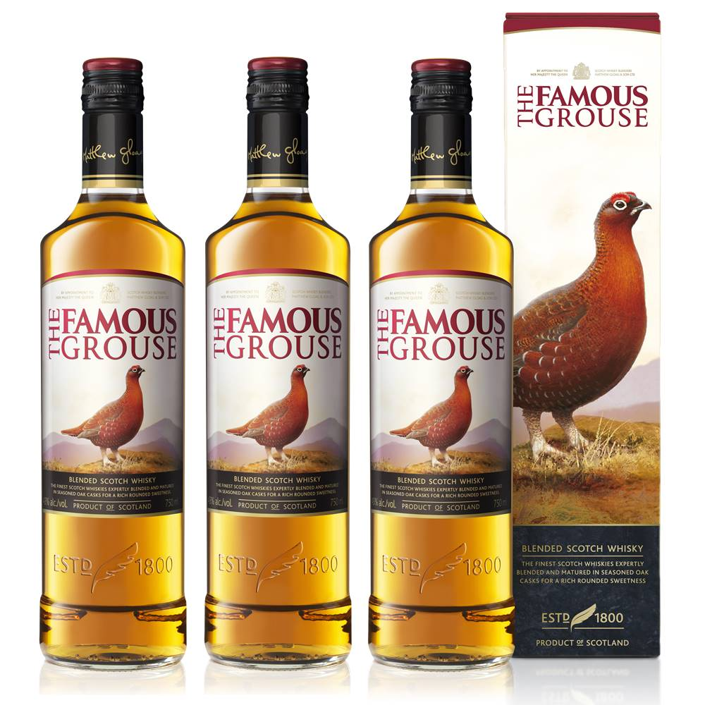 Kit 03 Unidades Whisky The Famous Grouse 750ml