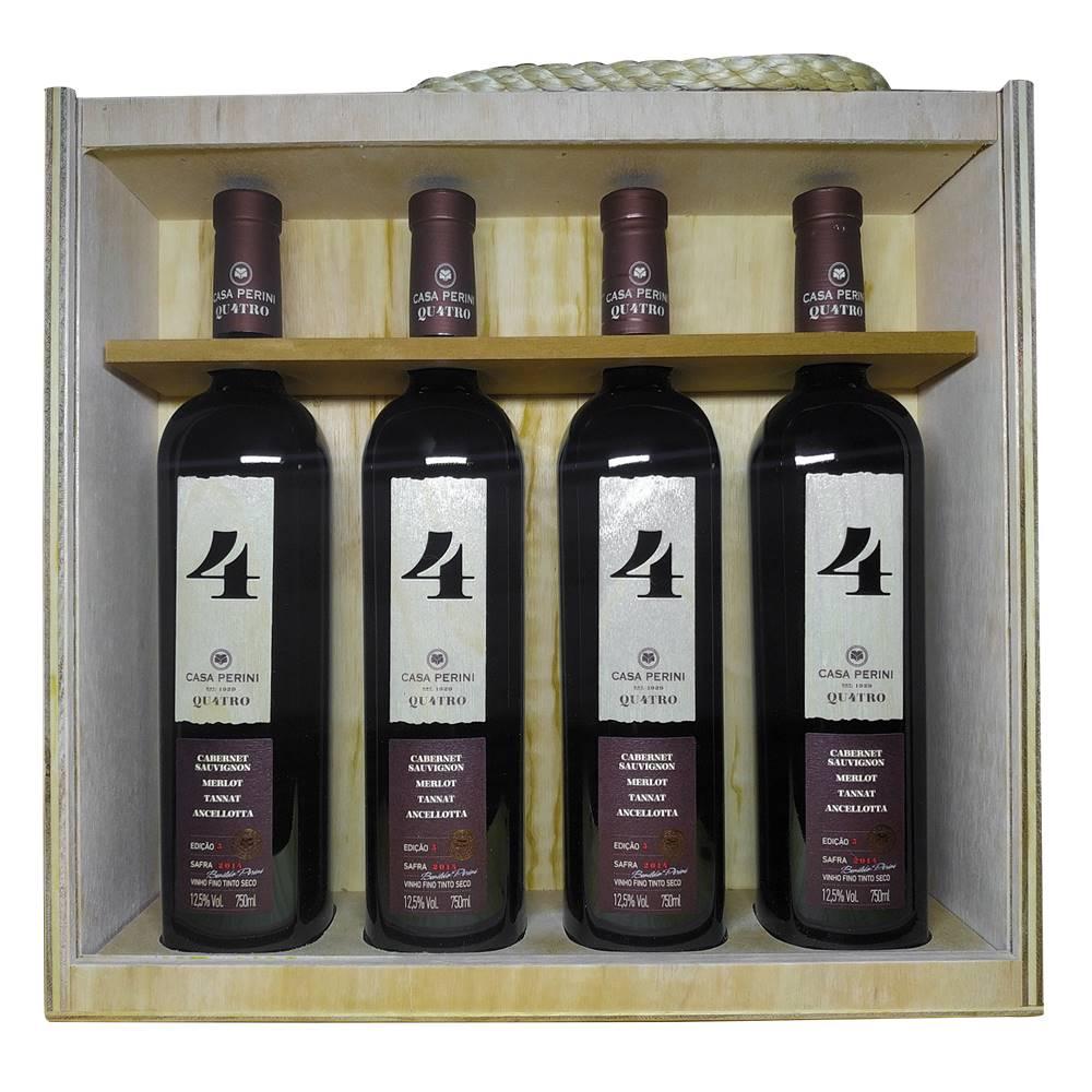 Kit 04 Unid. Vinho Casa Perini 4 Quatro 750ml Caixa Madeira