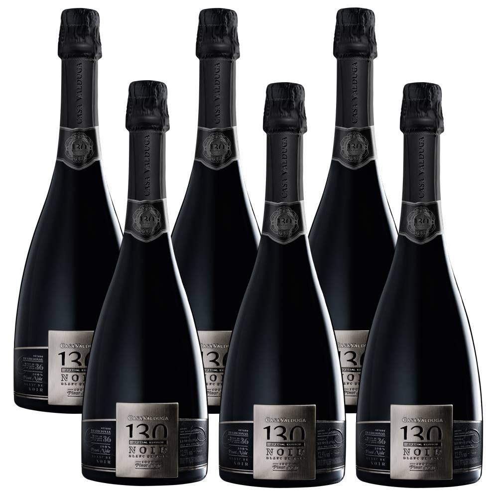 Kit 06 Un. Espumante Casa Valduga 130 Brut Blanc Noir 750ml
