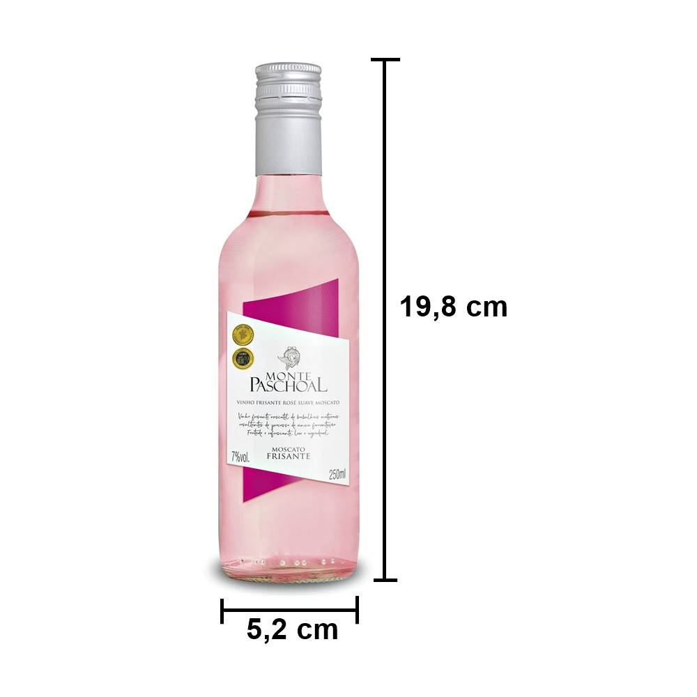 Kit 06 Un. Mini Frisante Monte Paschoal Moscatel Rosé 250ml