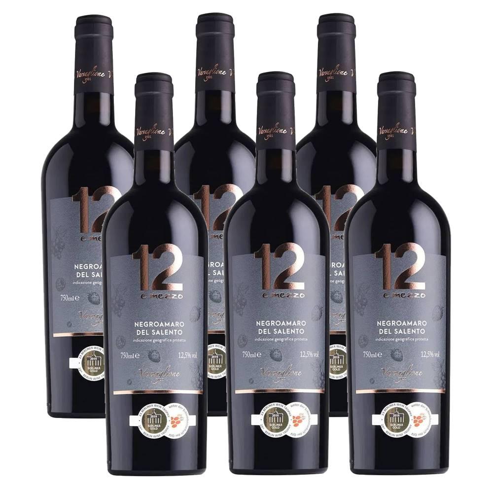 Kit 06 Un. Vinho 12 e Mezzo Negroamaro del Salento IGP 750ml