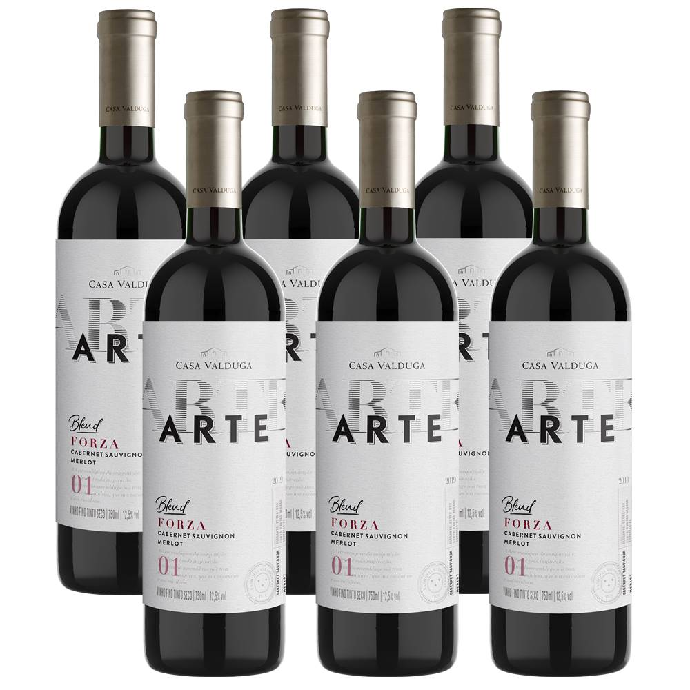 Kit 06 Un. Vinho Casa Valduga Arte Cabernet e Merlot 750ml