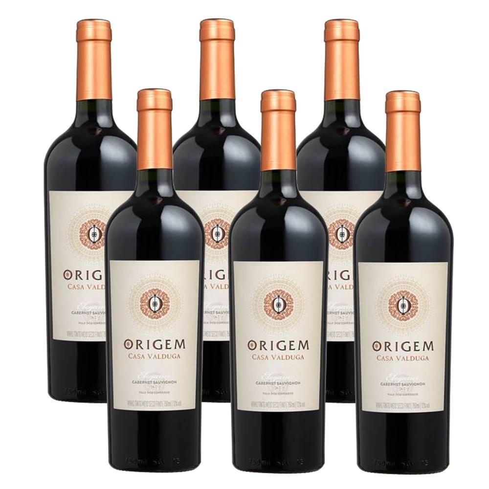 Kit 06 Un. Vinho Casa Valduga Origem Elegance Cabernet 750ml