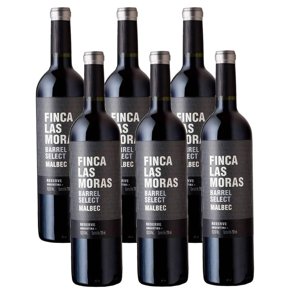Kit 06 Un. Vinho Finca Las Moras Barrel Select Malbec 750ml