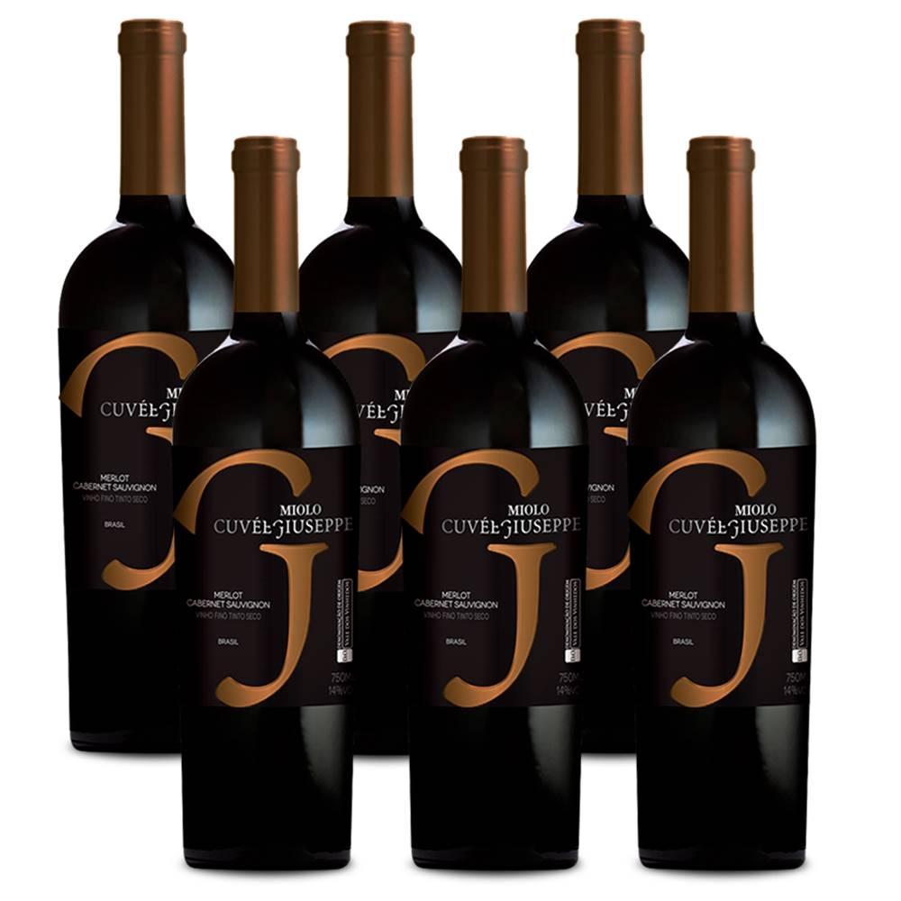 Kit 06 Un. Vinho Miolo Cuvée Giuseppe Cabernet Merlot 750ml