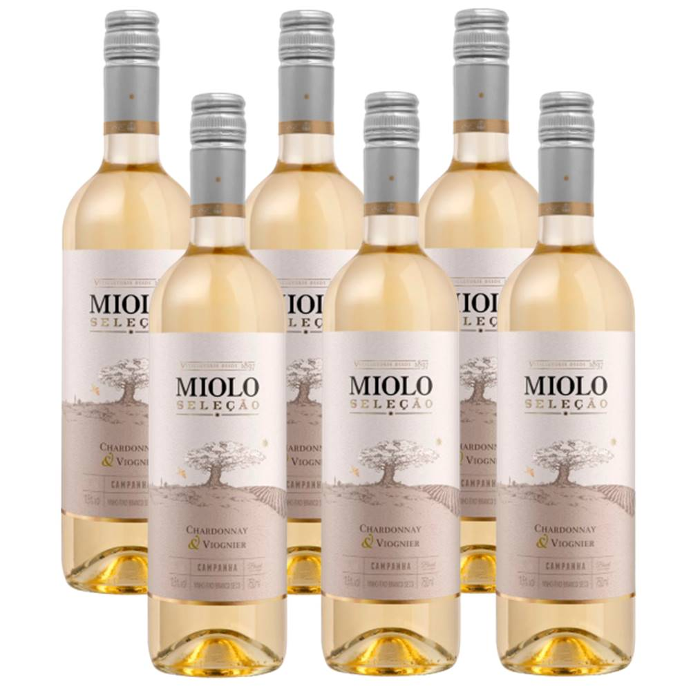 Kit 06 Un. Vinho Miolo Seleção Chardonnay e Viognier 750ml