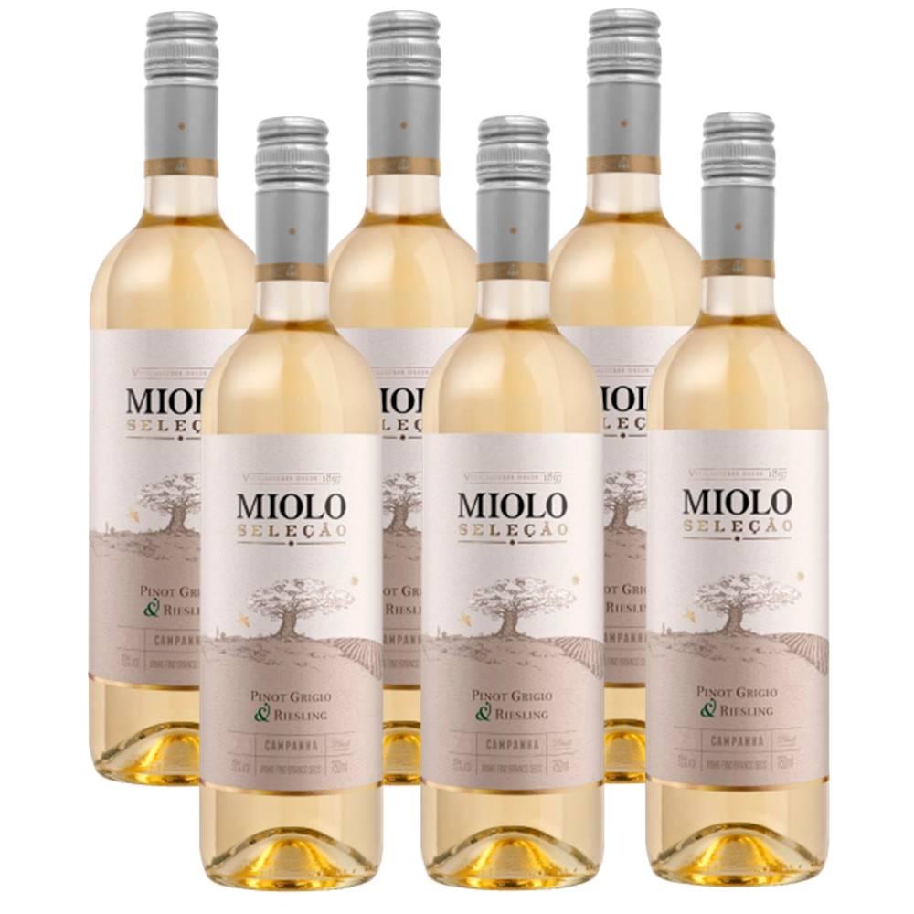 Kit 06 Un. Vinho Miolo Seleção Pinot Grigio e Riesling 750ml