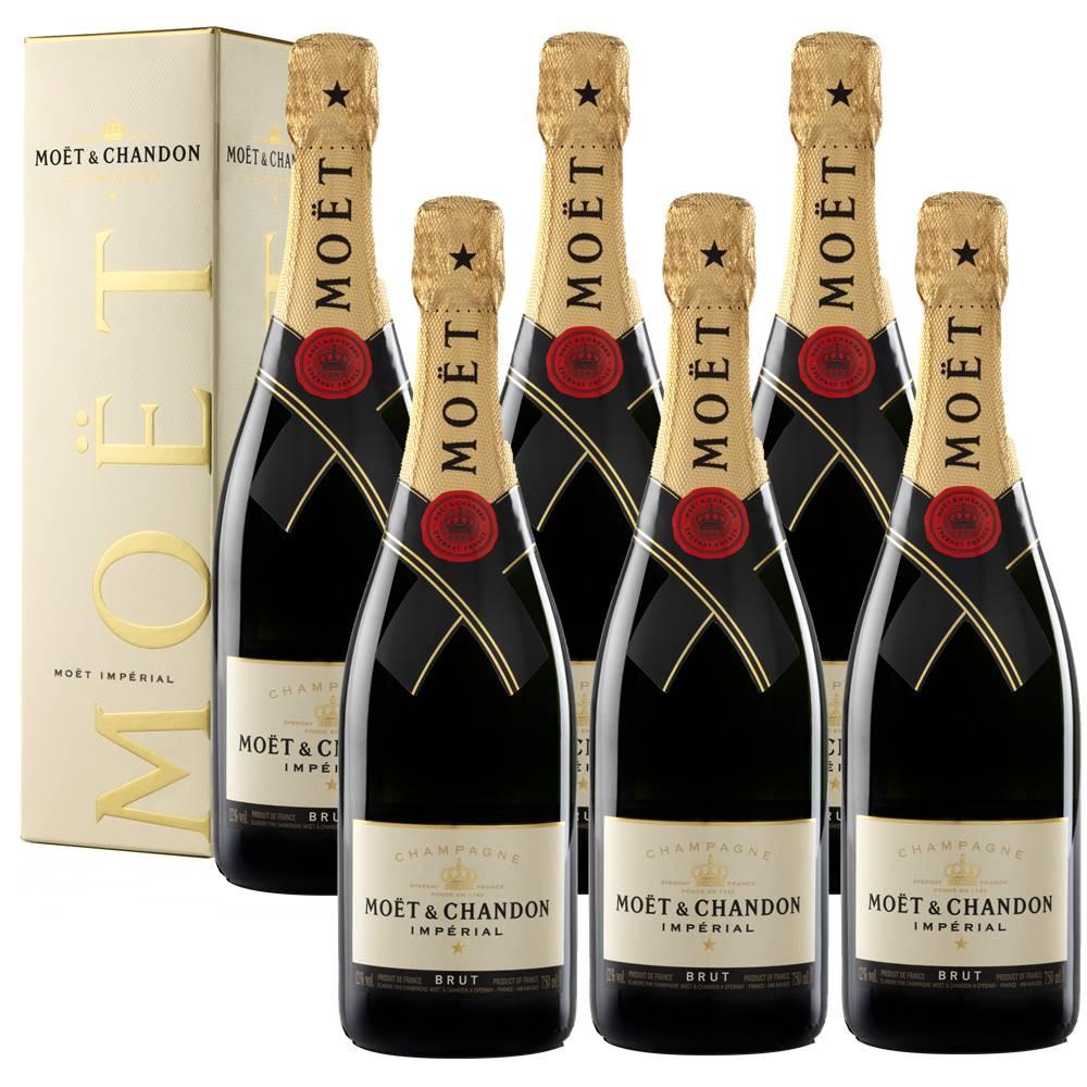 Kit 06 Unidades Champagne Moet e Chandon Impérial Brut 750ml