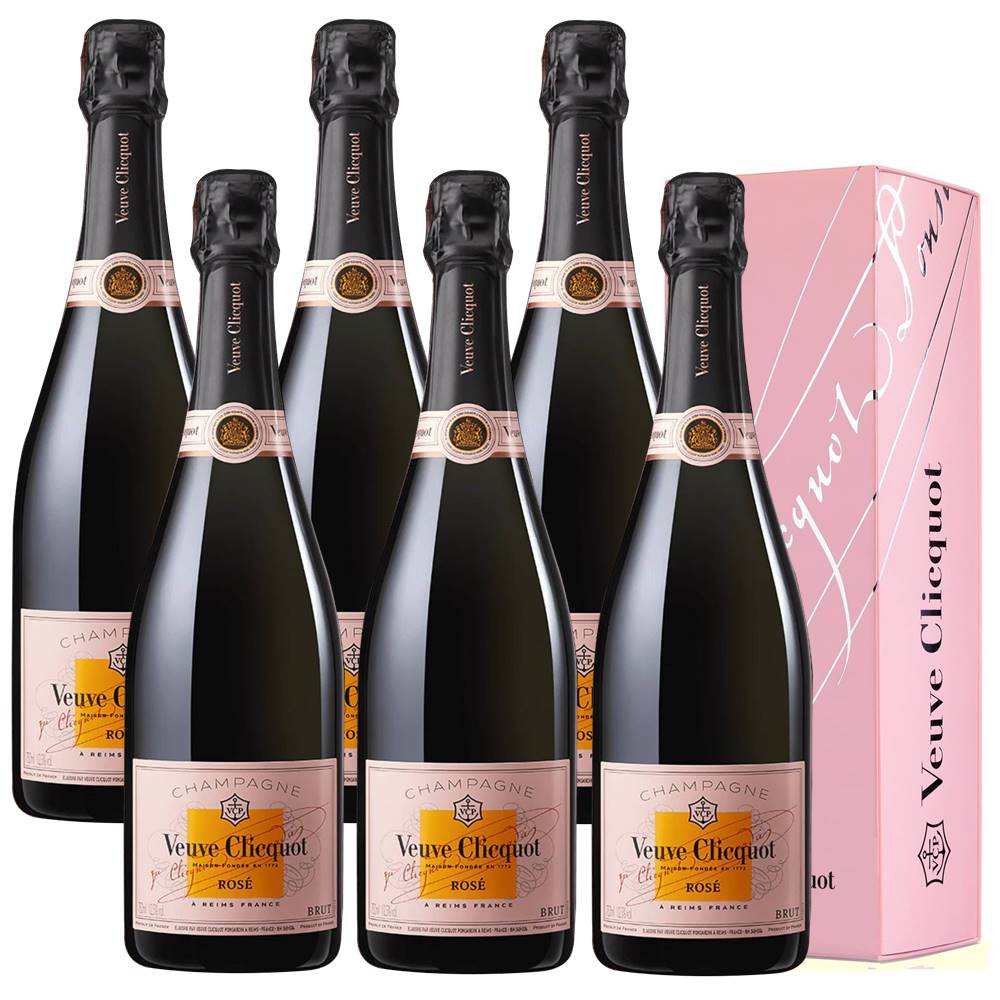 Kit 06 Unidades Champagne Veuve Clicquot Brut Rosé 750ml