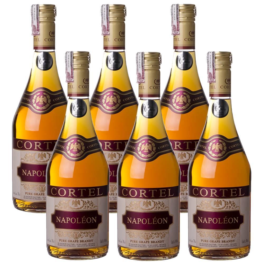 Kit 06 Unidades Conhaque Brandy Cortel Napoléon 700ml