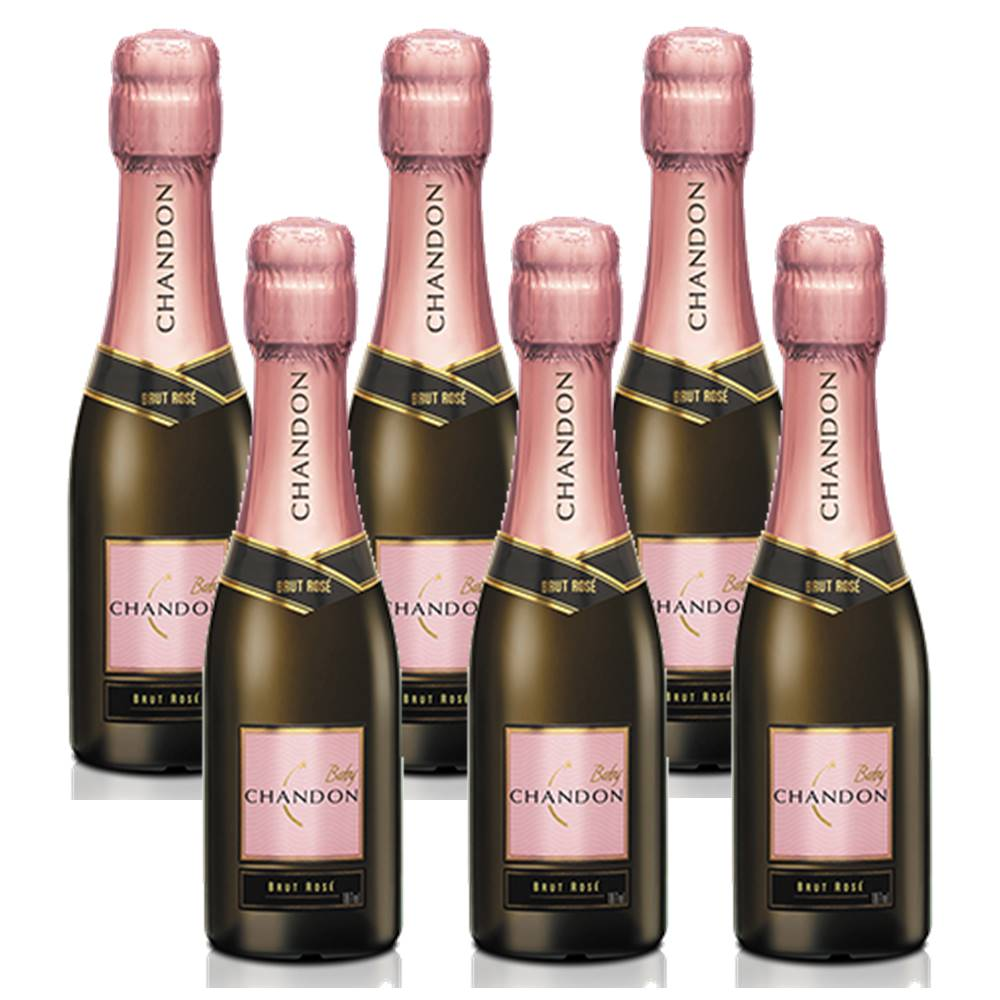 Kit 06 Unidades Mini Espumante Chandon Baby Brut Rosé 187ml