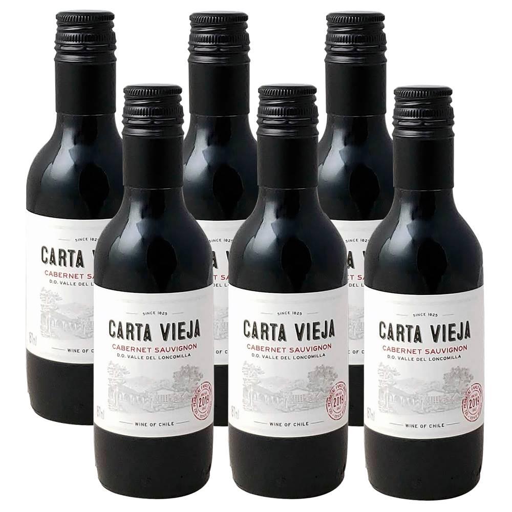 Kit 06 Unidades Mini Vinho Carta Vieja Cabernet Sauvignon 187ml