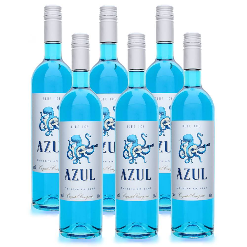 Kit 06 Unidades Vinho Azul Ice Moscato Casa Motter 750ml