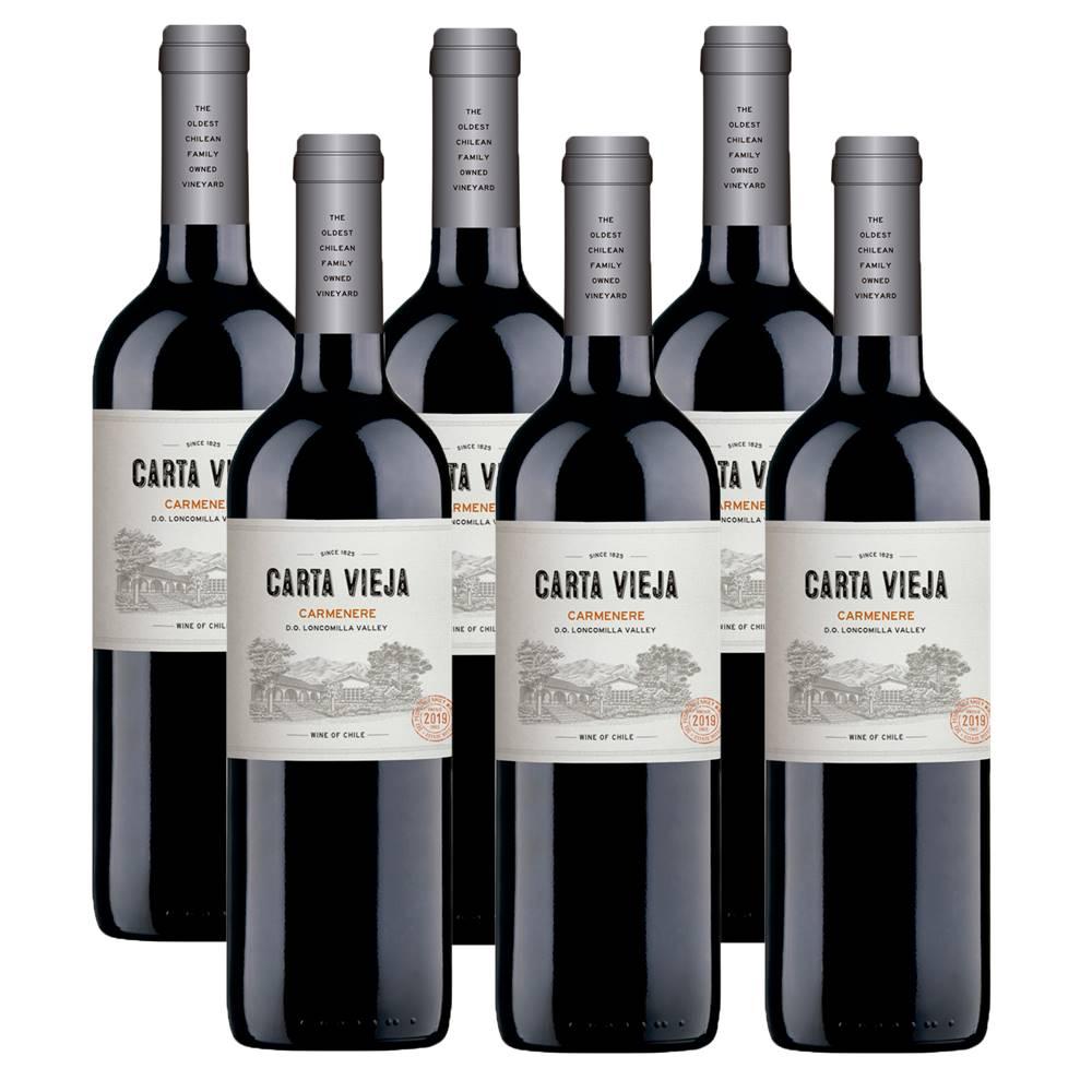 Kit 06 Unidades Vinho Carta Vieja Carménère 750ml