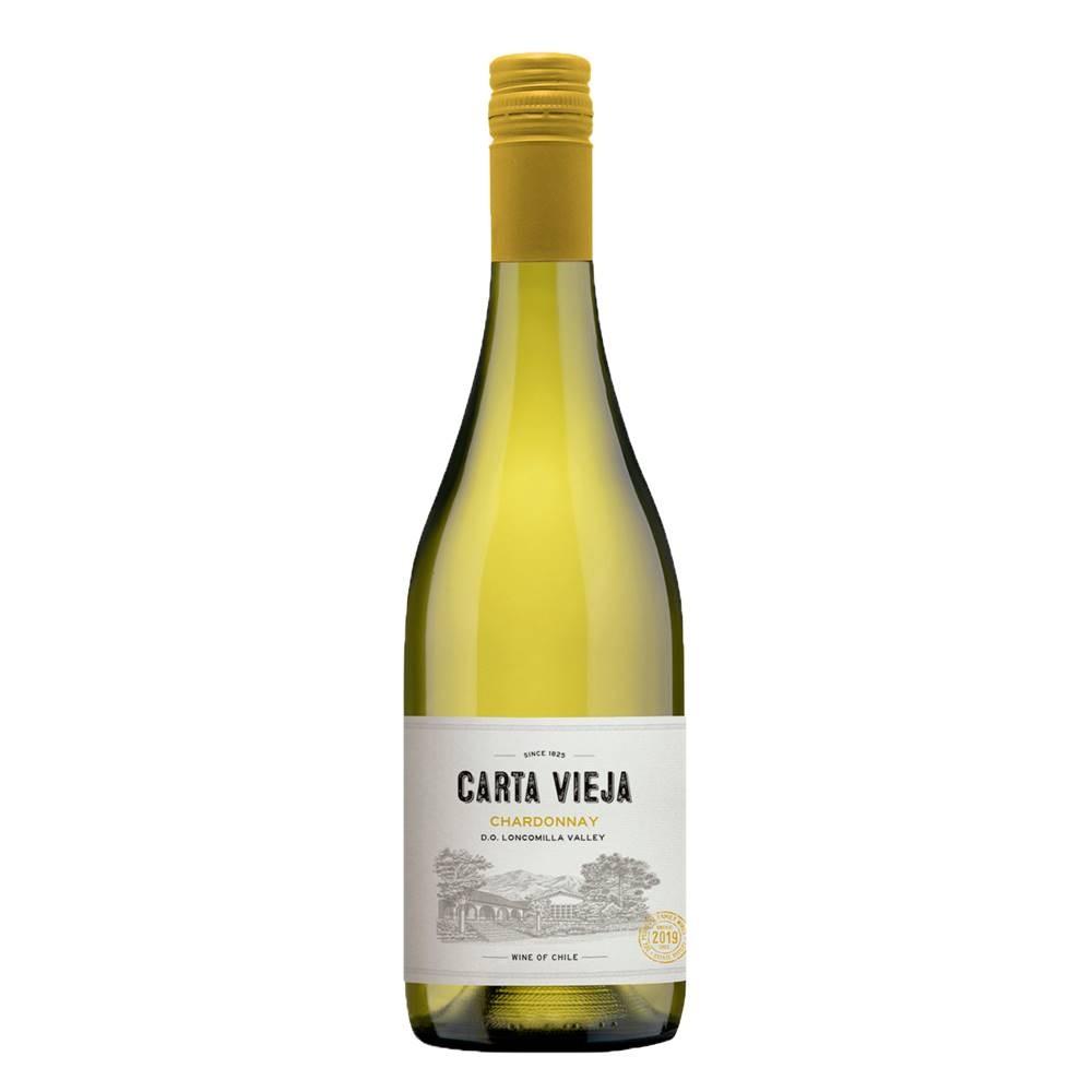 Kit 06 Unidades Vinho Carta Vieja Chardonnay 750ml