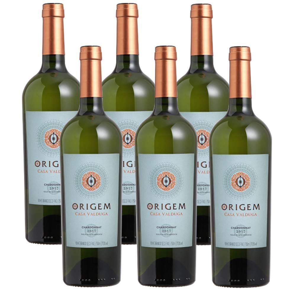 Kit 06 Unidades Vinho Casa Valduga Origem Chardonnay 750ml