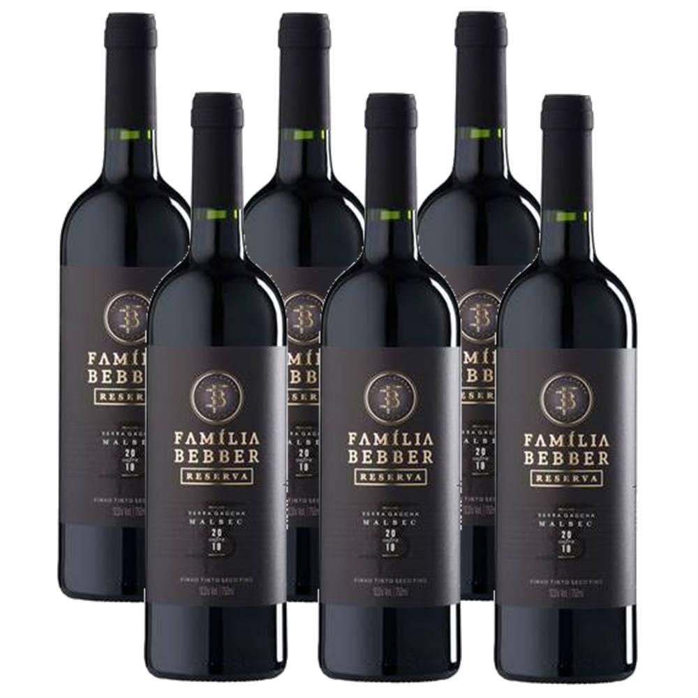 Kit 06 Unidades Vinho Família Bebber Reserva Malbec 750ml