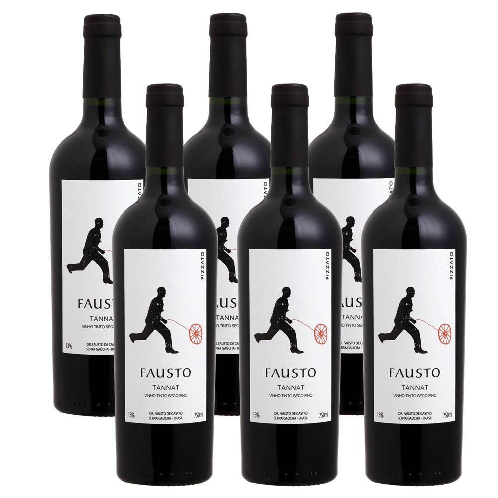 Kit 06 Unidades Vinho Fausto de Pizzato Tannat 750ml