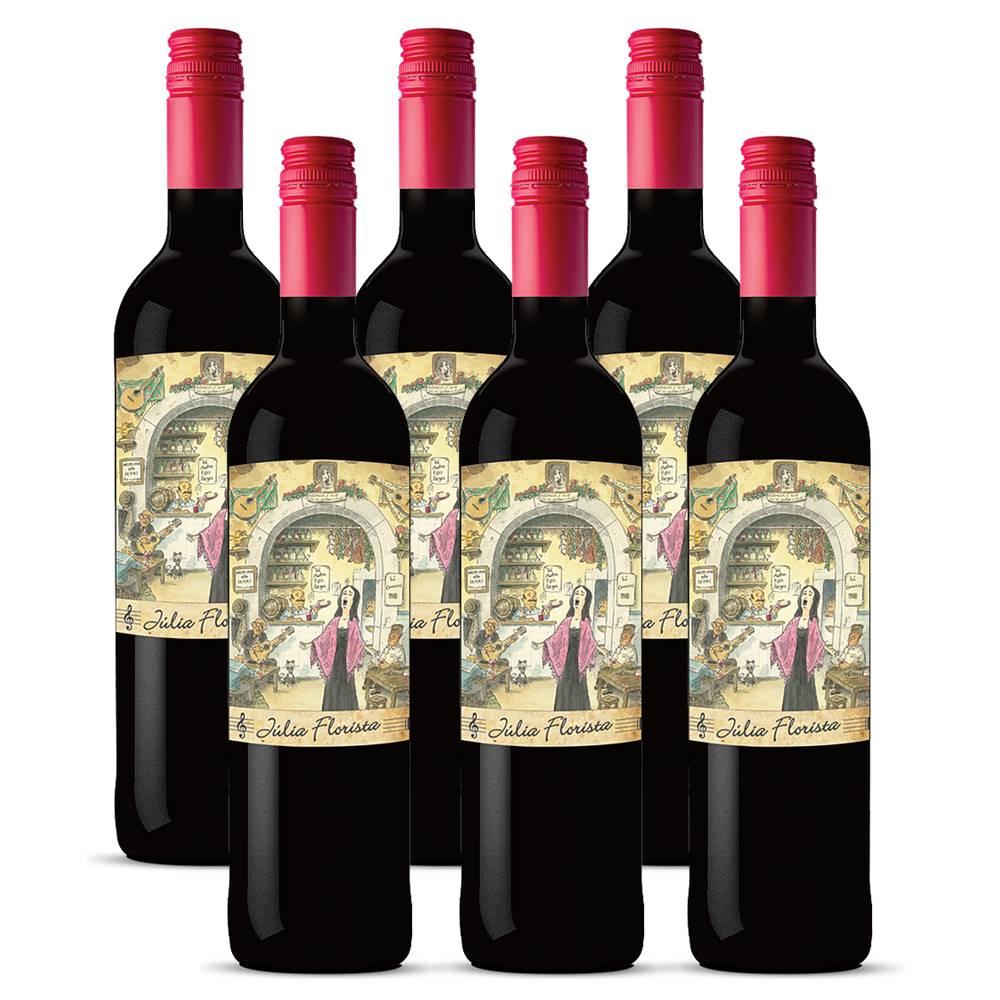Kit 06 Unidades Vinho Julia Florista Tinto 750ml