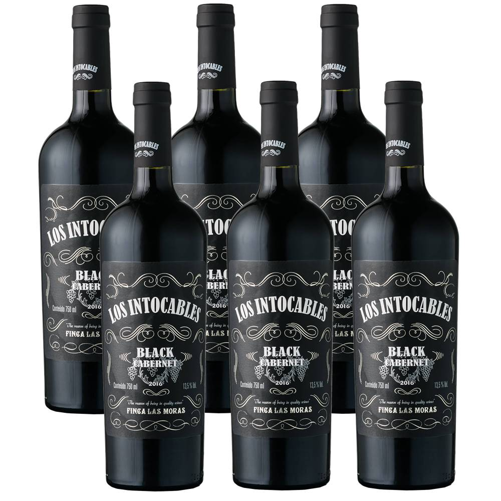 Kit 06 Unidades Vinho Los Intocables Black Cabernet 750ml