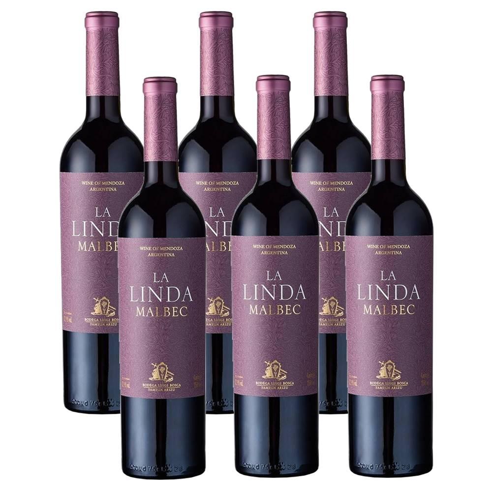 Kit 06 Unidades Vinho Luigi Bosca La Linda Malbec 750ml