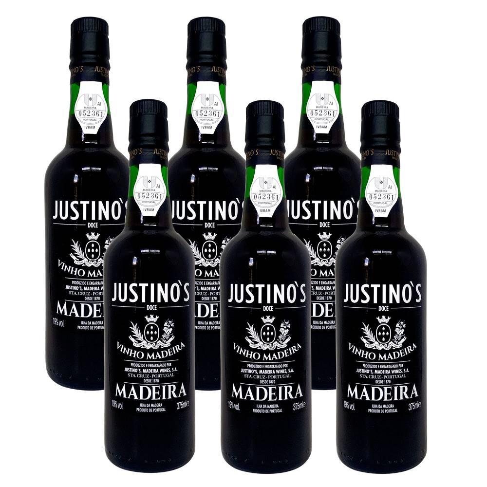 Kit 06 Unidades Vinho Madeira Justinos 3 Anos Doce 375ml
