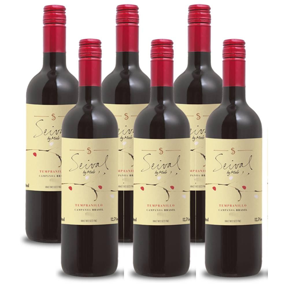 Kit 06 Unidades Vinho Miolo Seival Tempranillo 750ml