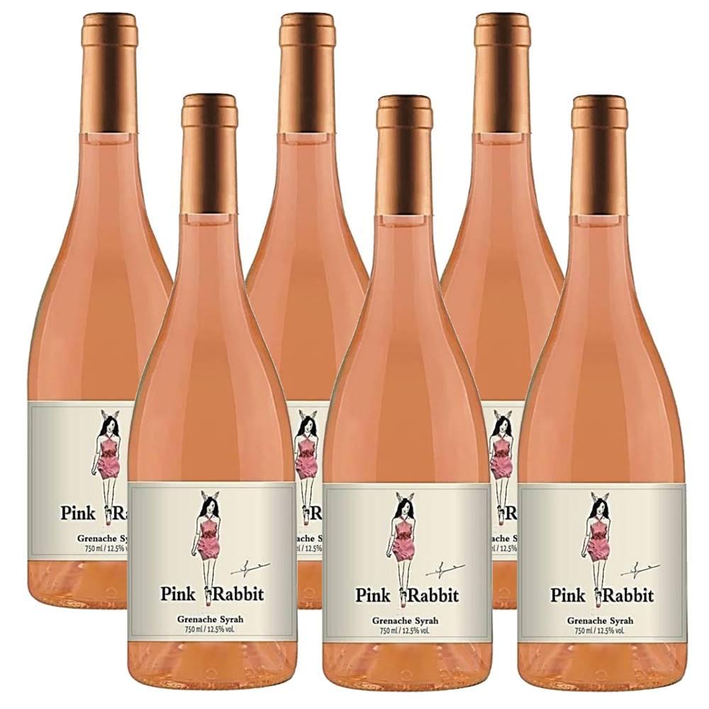 Kit 06 Unidades Vinho Pink Rabbit Rosé Grenache Syrah 750ml