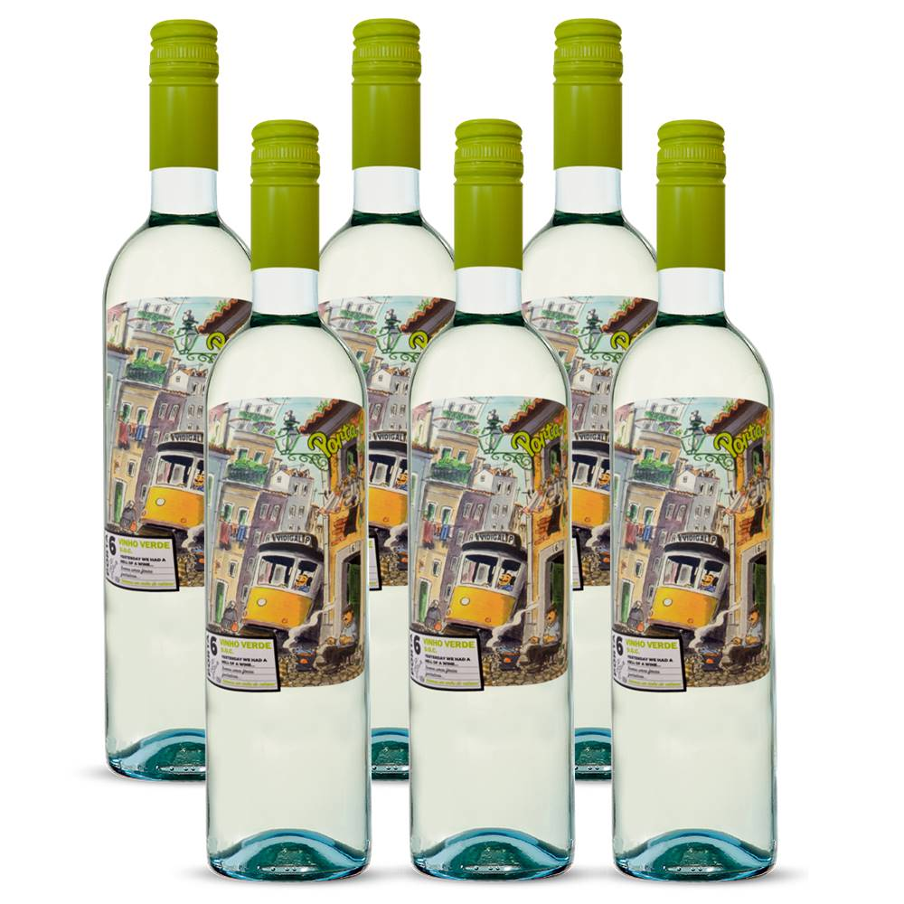 Kit 06 Unidades Vinho Porta 6 Branco Vinho Verde DOC 750ml