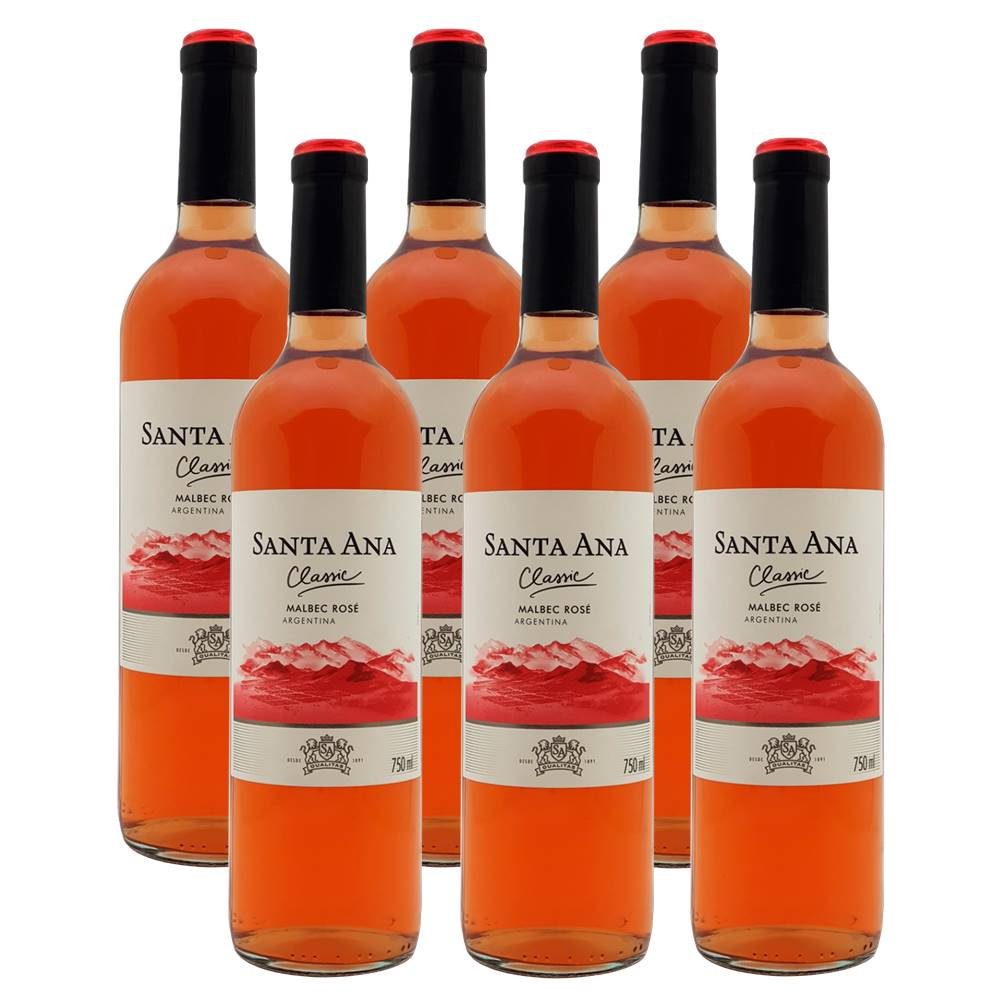 Kit 06 Unidades Vinho Santa Ana Classic Malbec Rosé 750ml