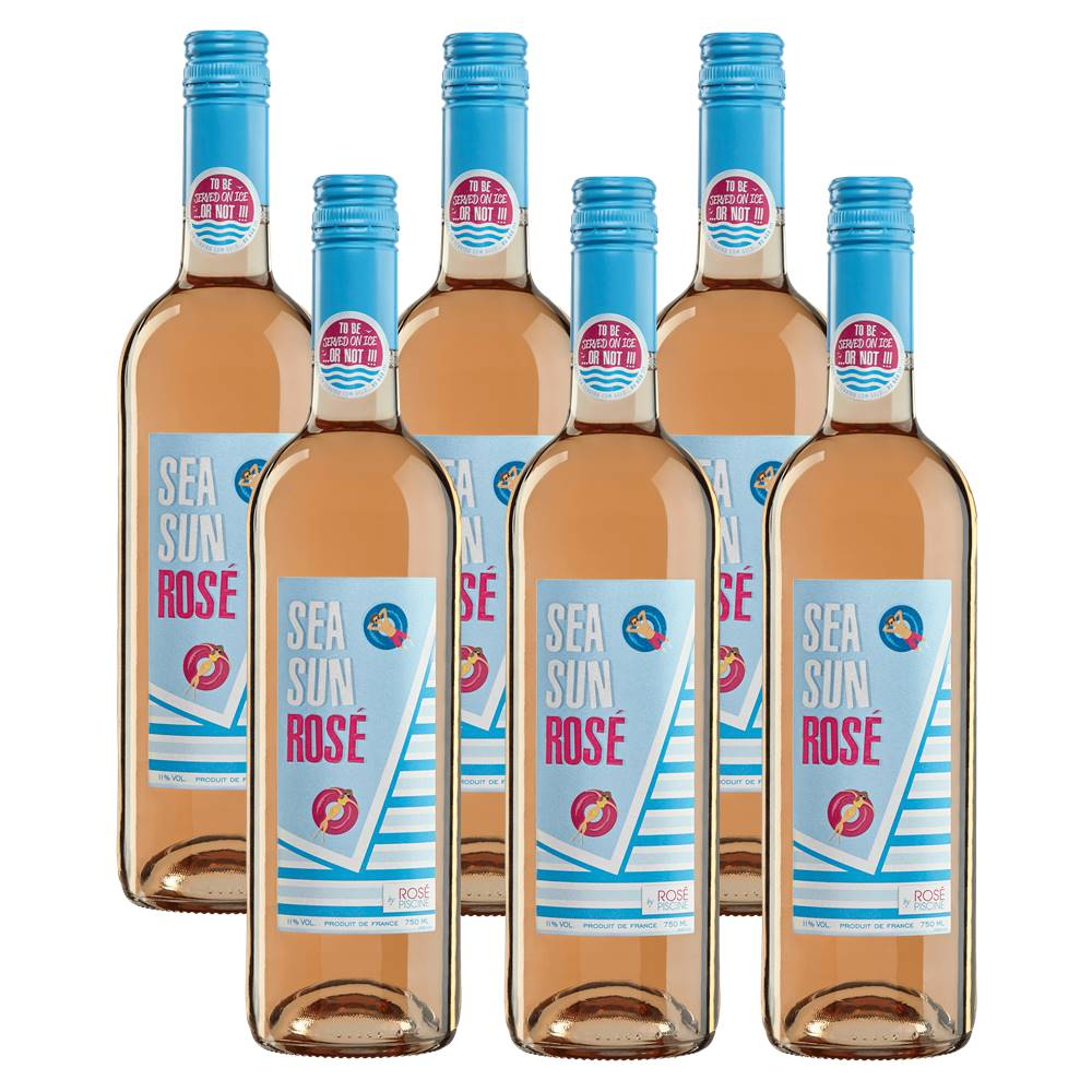 Kit 06 Unidades Vinho Sea Sun Rosé Piscine 750ml