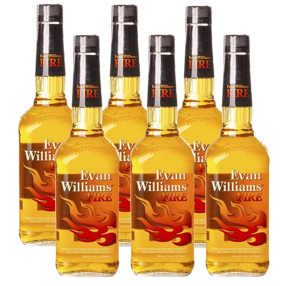 Kit 06 Unidades Whisky Evan Williams Fire Canela 750ml
