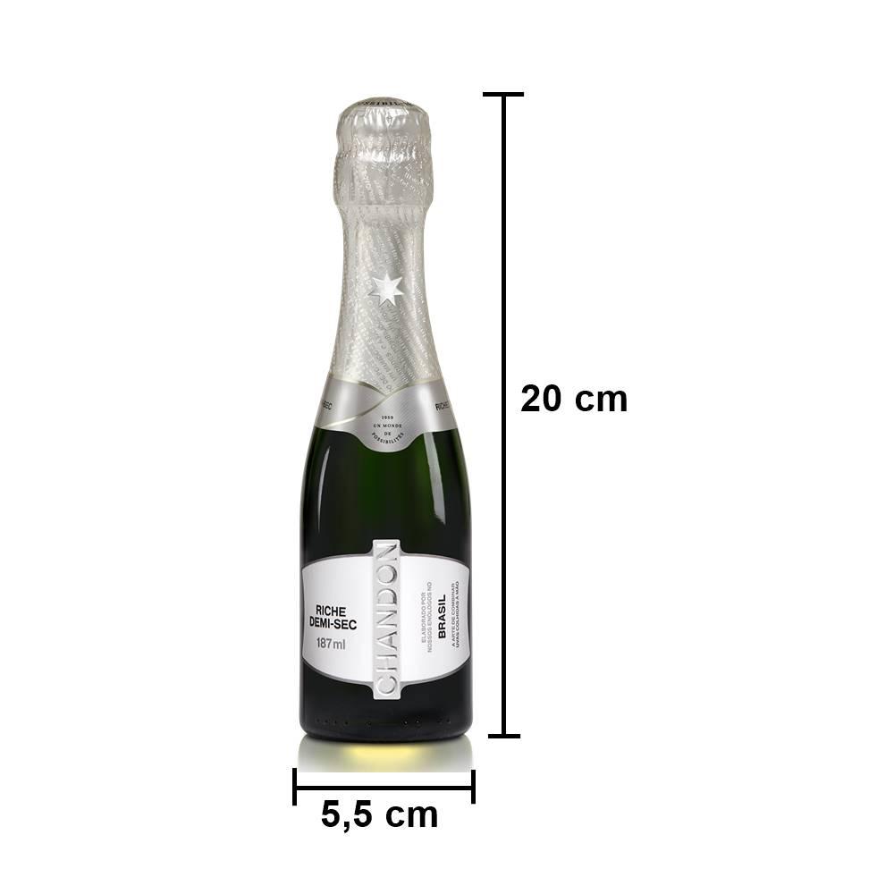 Kit 10 Un. Mini Espumante Chandon Baby Riche Demi-Sec 187ml