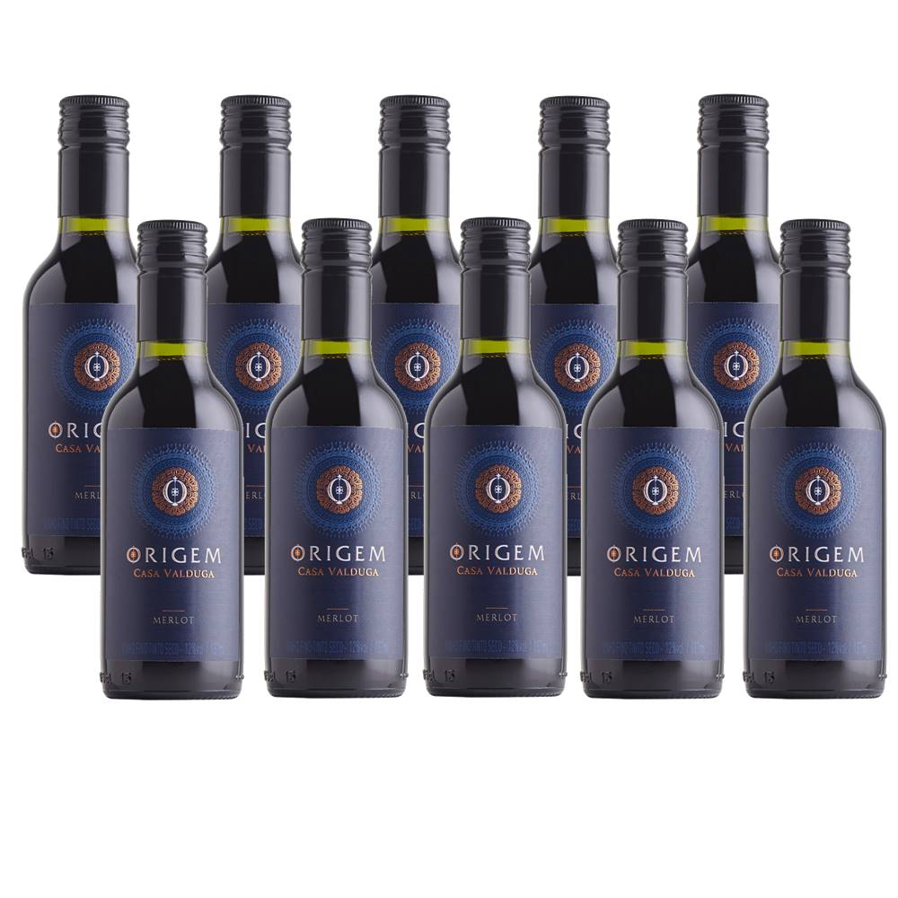 Kit 10 Unidades Mini Vinho Casa Valduga Origem Merlot 187ml