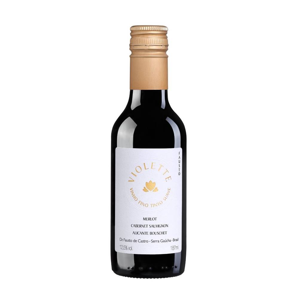 Kit 12 Un. Mini Vinho Fausto de Pizzato Violette Suave 187ml