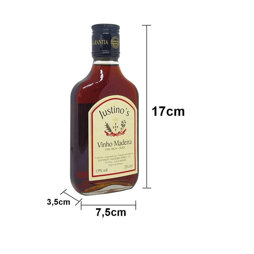 Kit 12 Unid. Mini Vinho Madeira Justinos 3 Anos Doce 200ml