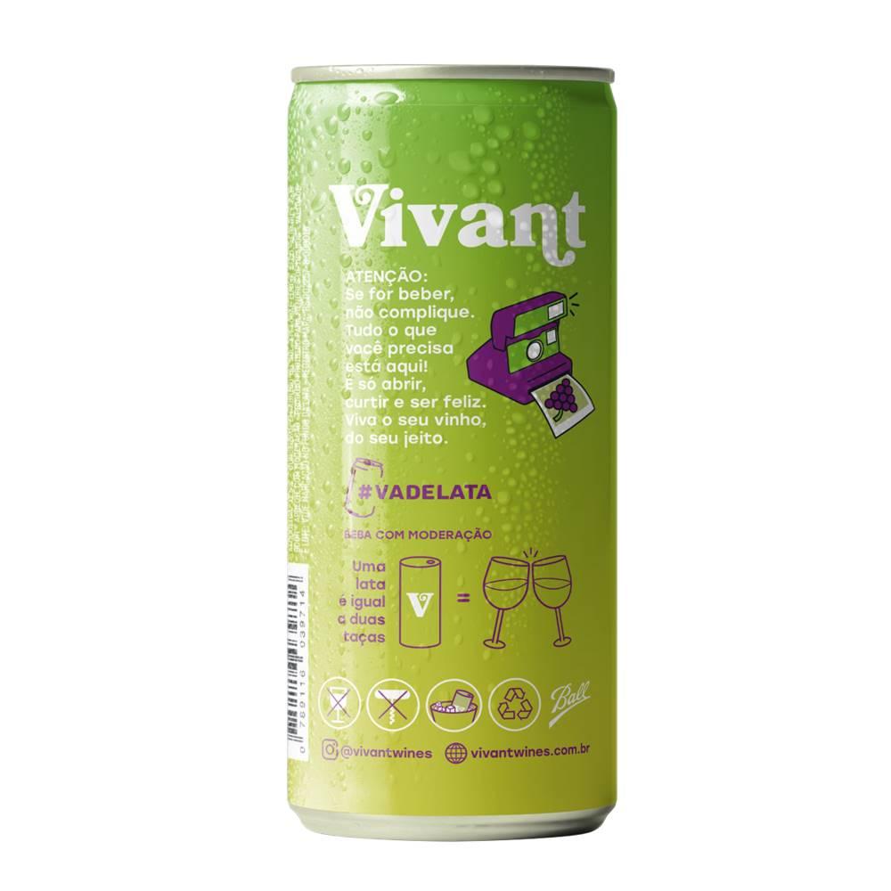 Kit 12 Unidades Vinho em Lata Vivant Branco 269ml
