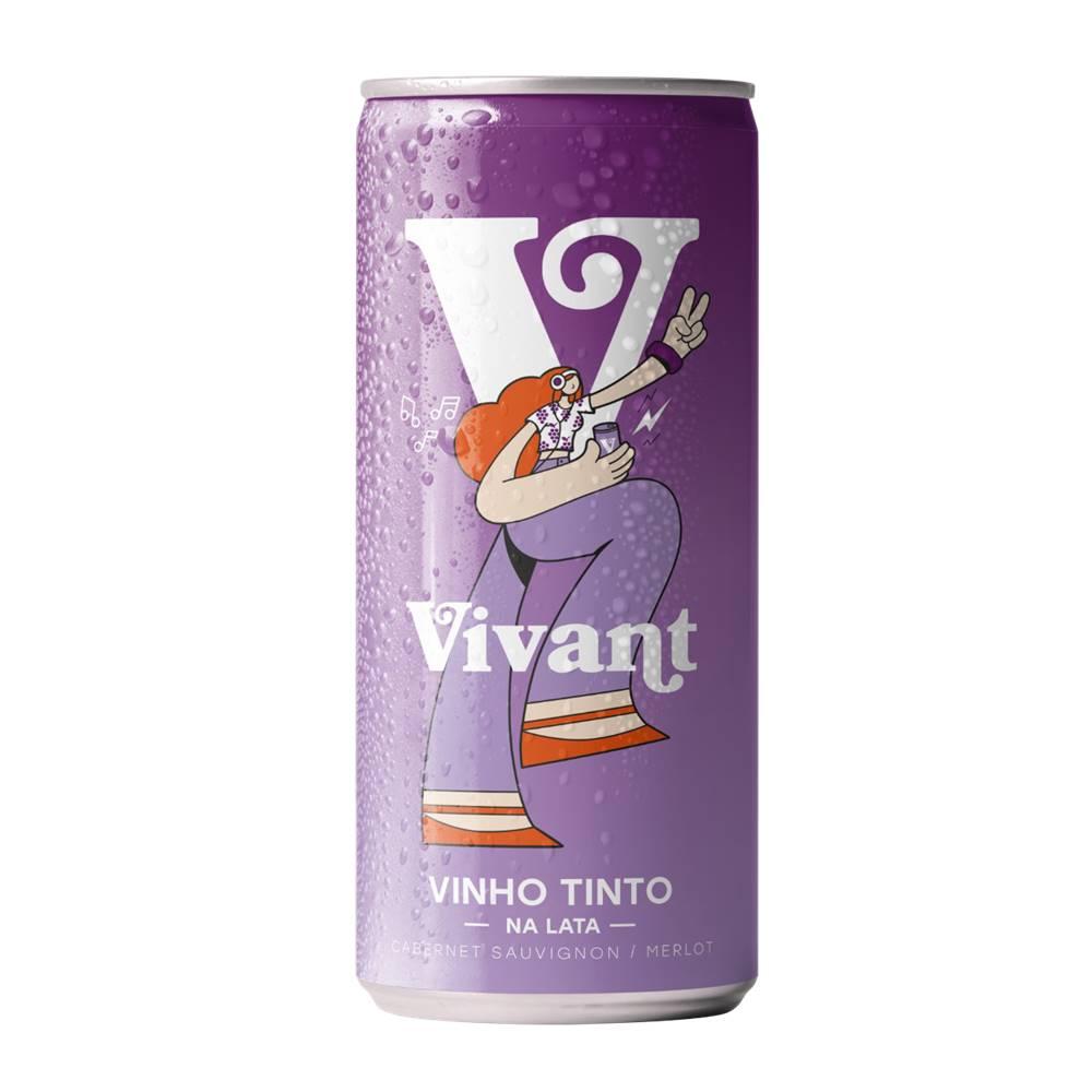 Kit 12 Unidades Vinho em Lata Vivant Tinto 269ml