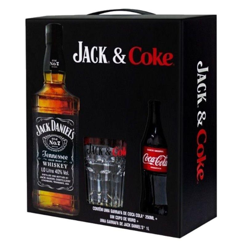 Kit Jack e Coke Whisky Jack Daniels 1Lt + Copo + Coca Cola