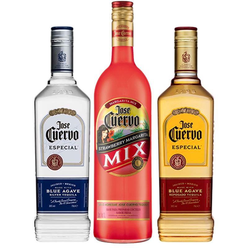 Kit Tequila Jose Cuervo Ouro + Prata E Margarita Morango