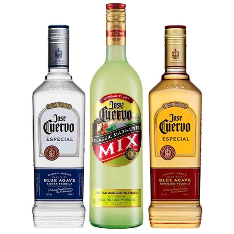 Kit Tequila Jose Cuervo Prata + Tequila Ouro + Margarita Mix
