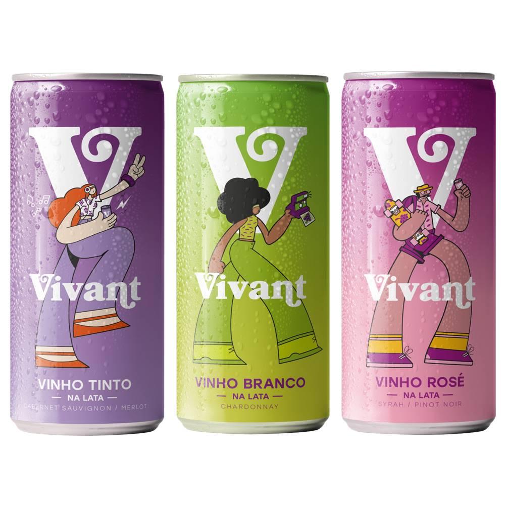 Kit Vinhos em Lata Vivant Tinto + Branco + Rosé 269ml
