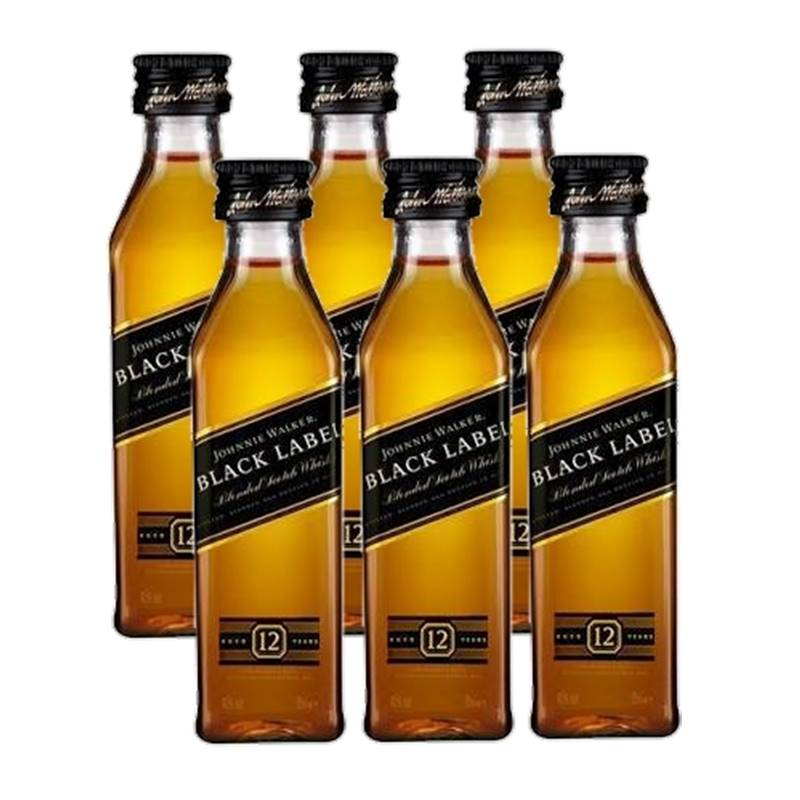 Miniatura Mini Whisky Black Label 50ml 06 Unidades