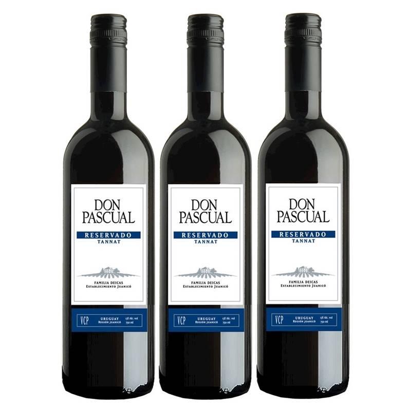 Vinho Don Pascual Reservado Tannat 750ml 03 Unidades