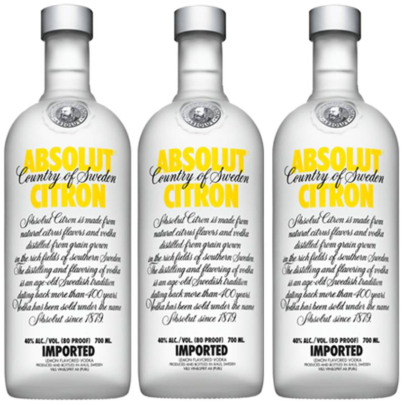 Vodka Absolut Citron 750ml 03 Unidades