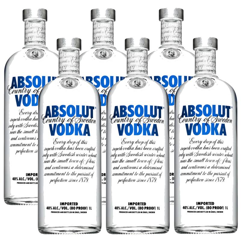 Vodka Absolut Natural 1 Lt 06 Unidades