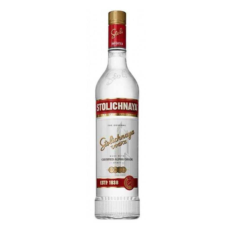 Vodka Stolichnaya Premium 750ml + 02 Copos Shot De Aluminio